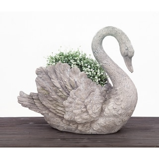 Urban Designs Swan Cast Grey Stone Planter Garden Decor