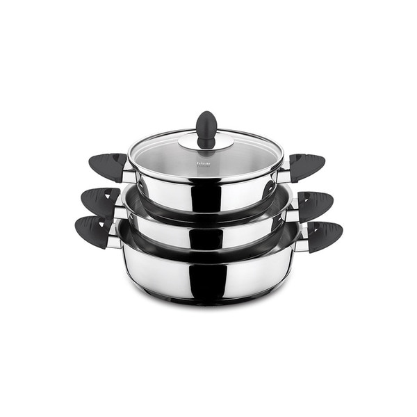 Lisbon Black Stainless Steel 6-piece Egg Pan Set by Hisar