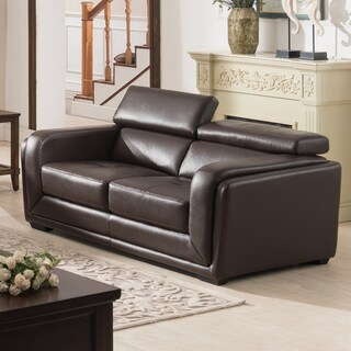 Christies Home Living Calvin Brown Modern Leather Living Room Love Seat