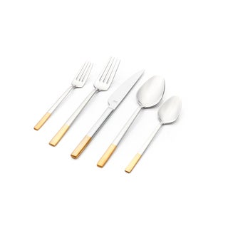 Milan 30-piece Flatware Set with Crystal Half Gold Plated Matte Satin Finish Service for 6