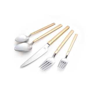 Milan 30-piece Flatware Set with Crystal Gold Plated Matte Satin Finish Service for 6