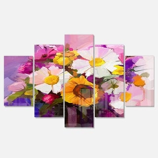 Designart 'Bunch of White Red Yellow Flowers' Modern Floral Glossy Metal Wall Art