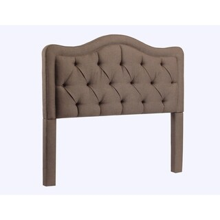 Allure Button Tufted Brown Upholstered King-size Headboard