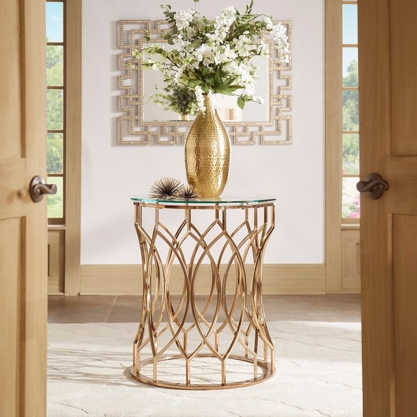 Davlin Modern Glam Round Glass Top Metal Foyer Table by iNSPIRE Q Bold