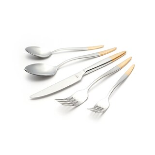 Mercury Half Gold-plated Matte Satin Finish 30-piece Flatware Set with Service for 6 by Hisar