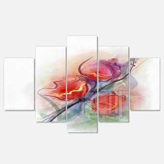 Designart 'Soft Floral Watercolor on Splashes' Modern Floral Glossy Metal Wall Art