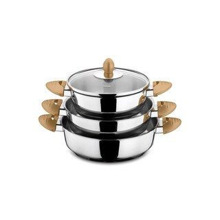 Lisbon 6-piece Gold Stainless Steel Egg Pan Set by Hisar