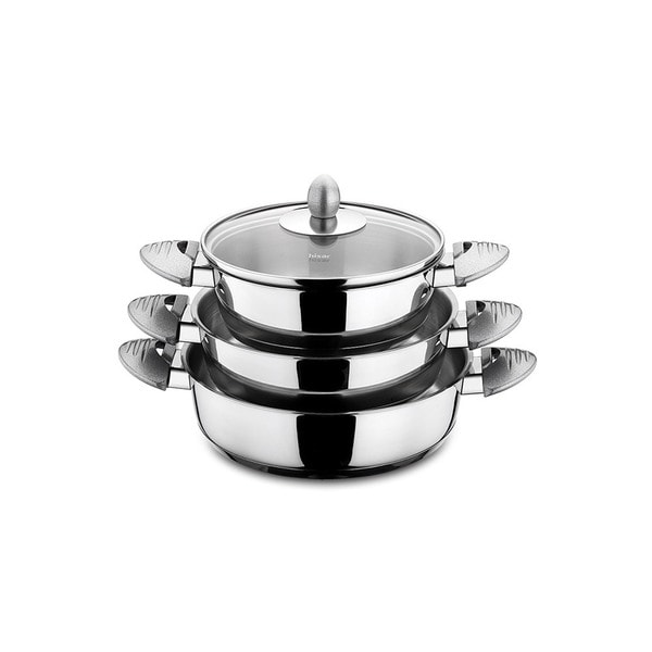 Lisbon Stainless Steel 6-piece Egg Pan Set with Grey Handles by Hisar