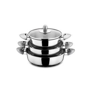 Lisbon 6 Piece Stainless Steel Egg Pan Set with Grey Handles