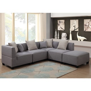 Holly Modern 5-Piece Modular Grey Linen L Shaped Sectional