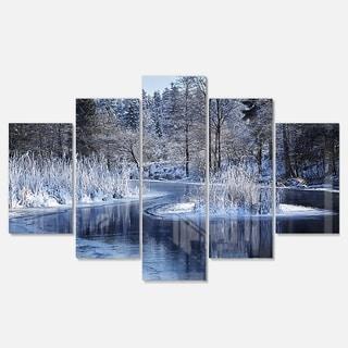 Designart 'Winter Lake in Deep Forest' Landscape Artwork Glossy Metal Wall Art