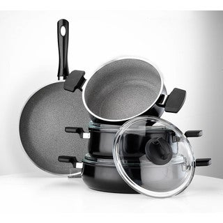 Aluminum Multigranit Neptune 7-piece Black Cookware Set by Hisar