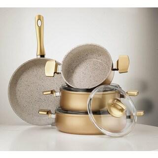 Aluminum Multigranit Neptune 7-piece Gold Cookware Set by Hisar