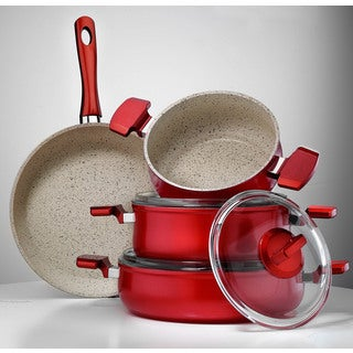 Aluminum Multigranit Neptune 7-piece Red Cookware Set by Hisar