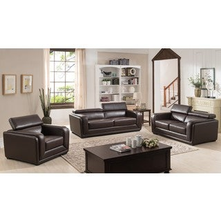 Calvin Brown Modern Leather Sofa, Love Seat, and Arm Chair Collection