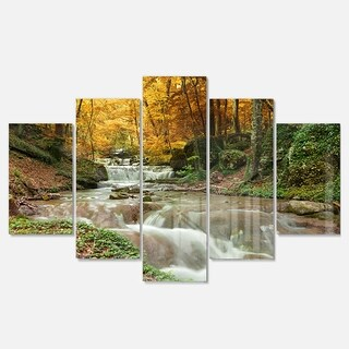 Designart 'Forest Waterfall with Yellow Trees' Landscape Artwork Glossy Metal Wall Art