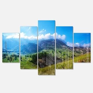 Designart 'Mountain Landscape Panorama' Landscape Artwork Glossy Metal Wall Art