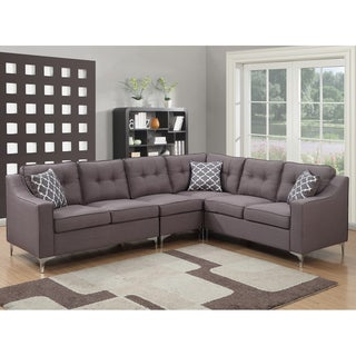 Clay Alder Home Bunker Hill Grey 4-piece Mid-century Linen Tufted L-shaped Sectional