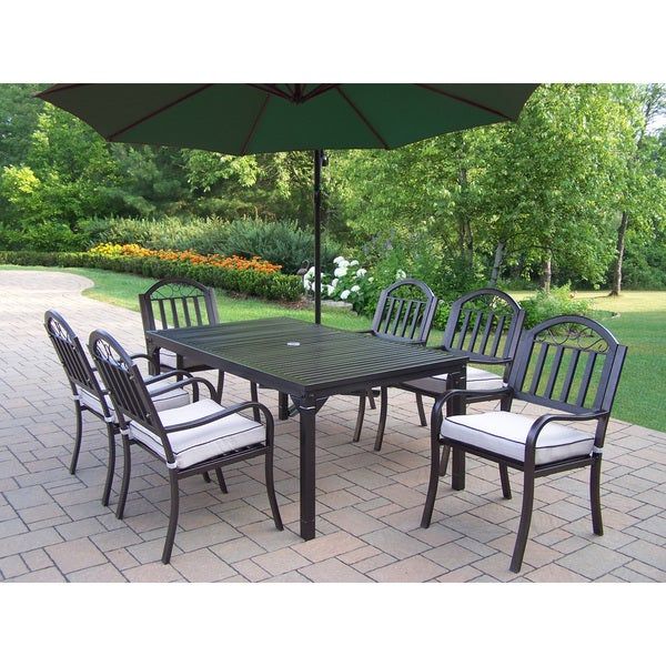 Outdoor Patio Furniture Rochester Ny: Shop Hometown 8-Piece Outdoor Dining Set With 10 Ft Green