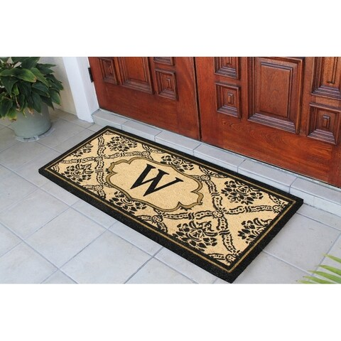 A1HC First Impression Uriel Bleached Coir Engineered Anti-shred Monogrammed Doormat (2' x 4'9)
