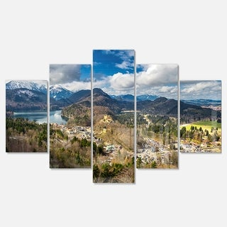 Designart 'Alps and Lakes on Summer Day' Landscape Artwork Glossy Metal Wall Art