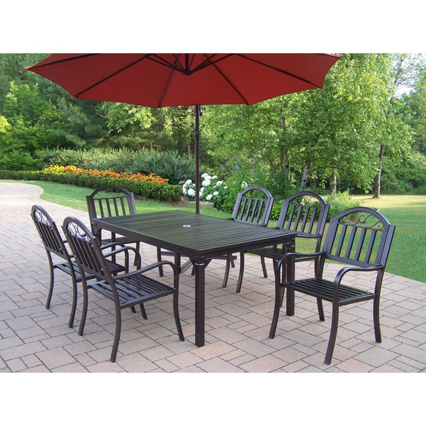 Shop Hometown 8-Piece Outdoor Dining Set with 10-Ft Orange ...
