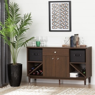 South Shore Olly Mid-Century Modern Walnut Sideboard