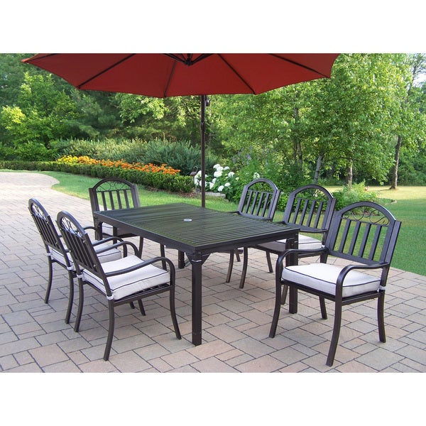 Hometown Piece Cushioned Outdoor Dining Set With Ft Umbrella - 10 foot outdoor dining table