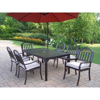 Hometown 8-Piece Cushioned Outdoor Dining Set with 10-ft Umbrella