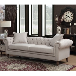 Christies Home Living Juliet Small Chesterfield Tufted Beige Linen Fabric Sofa