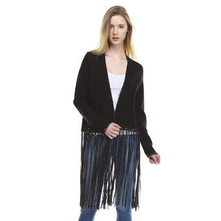 Skylar Women's Black Cotton Blend Long-sleeved Fringed Cardigan