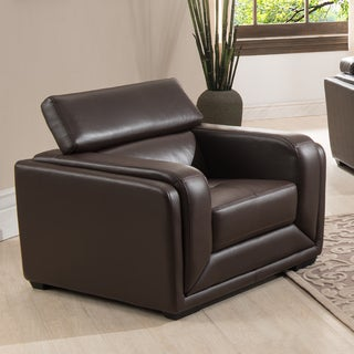 Christies Home Living Calvin Brown Modern Leather Living Room Arm Chair