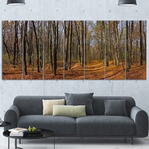 Designart 'Dense Fall Forest Panorama' Modern Forest Metal Wall Art
