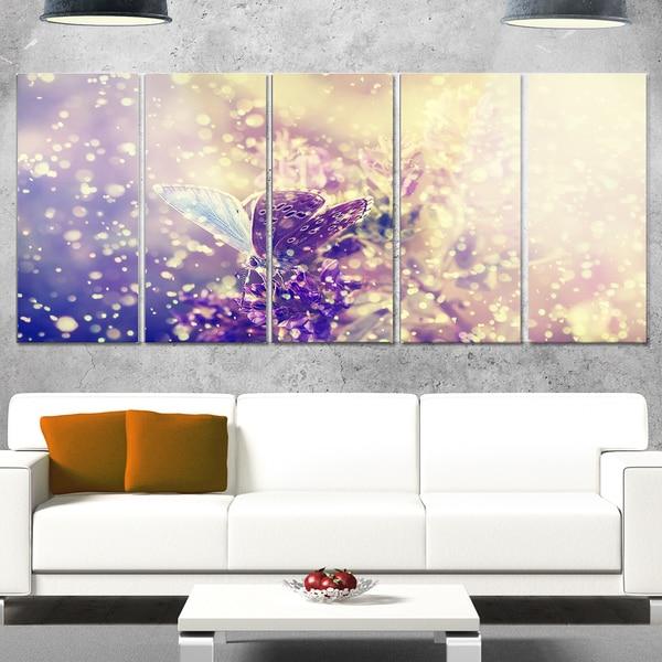 Designart 'Blue Butterfly And Purple Flowers' Modern Flower Metal Wall Art
