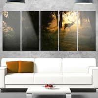 Designart 'Deer In Sunset In Deep Forest' Large Forest Glossy Metal Wall Art
