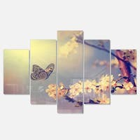 Designart 'Vintage Butterfly and Cherry Tree' Modern Flower Metal Wall Art