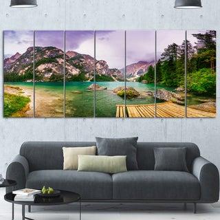 Designart 'Mountain Lake Between Mountains' Landscape Metal Wall Art