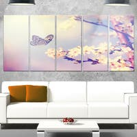 Designart 'Vintage Butterfly with Flowers' Modern Flower Metal Wall Art