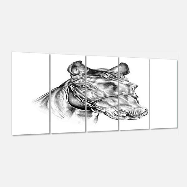 Designart Freehand Horse Head Pencil Drawing Modern Animal Metal Wall Art Overstock 13930148