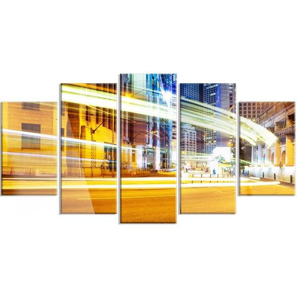 Designart \'Blur Motion Traffic Trail in Modern City\' Extra Large ...