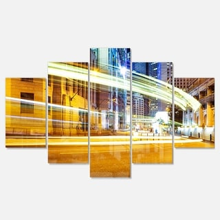 Designart 'Blur Motion Traffic Trail in Modern City' Extra Large Cityscape Glossy Metal Wall Art