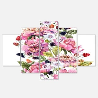 Designart 'Watercolor Pink Floral Composition' Floral Glossy Metal Wall Artwork
