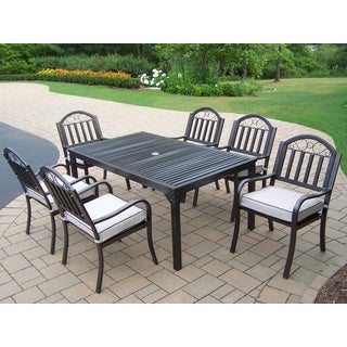 Hometown 7-Piece Outdoor Dining Set with Oatmeal Polyester Seat Cushions