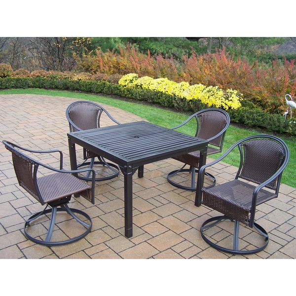 Shop Hometown Outdoor Dining Set With 4 Wicker Swivel