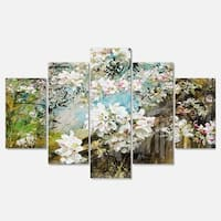Designart 'Apple Blossoms With White Flowers' Floral Glossy Metal Wall Artwork