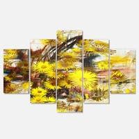 Designart 'Yellow Flowers Watercolor Illustration' Floral Glossy Metal Wall Artwork