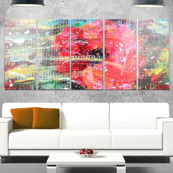 Designart 'Red Poppy Acrylic Drawing' Extra Large Floral Metal Wall Art