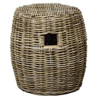 Kubu Drum Grey Rattan Accent Stool Table