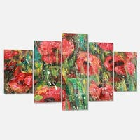 Designart 'Red Poppies Watercolor Drawing' Extra Large Floral Metal Wall Art