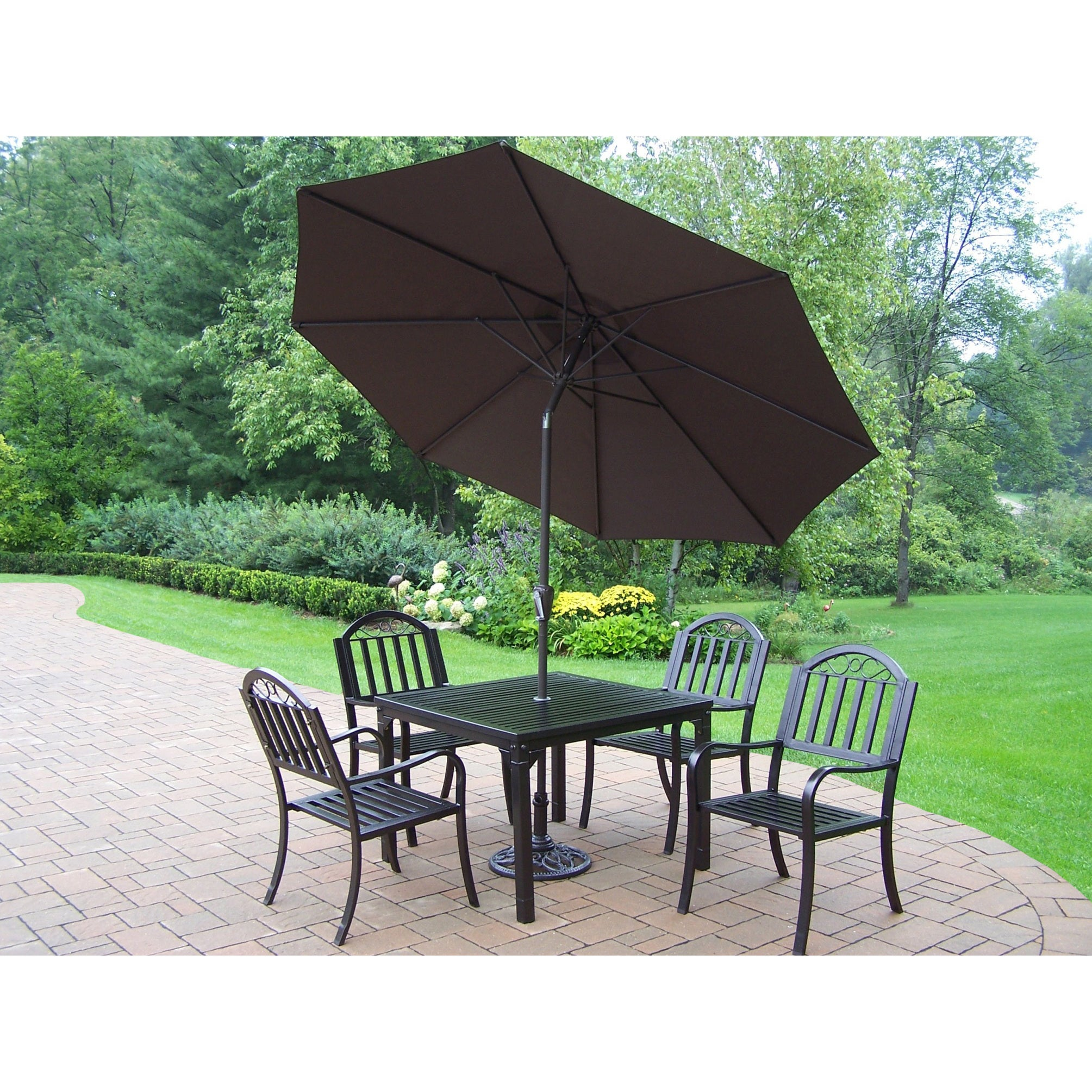 7 Piece Outdoor Dining Set With Table 4 Chairs 9 Ft Brown Umbrella On Sale Overstock 13930189
